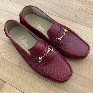 NWOT Cole Haan red croc leather gold horsebit moccasins